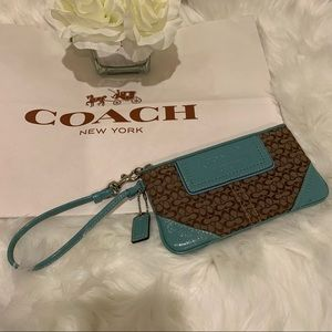 Coach Brown Logo Turquoise Leather Wristlet